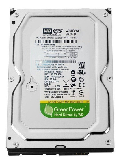 Disco rígido interno Western Digital WD Green Power WD5000AVVS 500GB verde