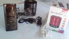 Mp3 Mp4 Player 8gb Com Fm+p2+ Cabo Usb+fone+caixinha De Som.
