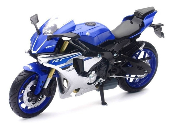 Moto Yamaha Yzf-r1 Escala 1:12 New Ray Azul/plata