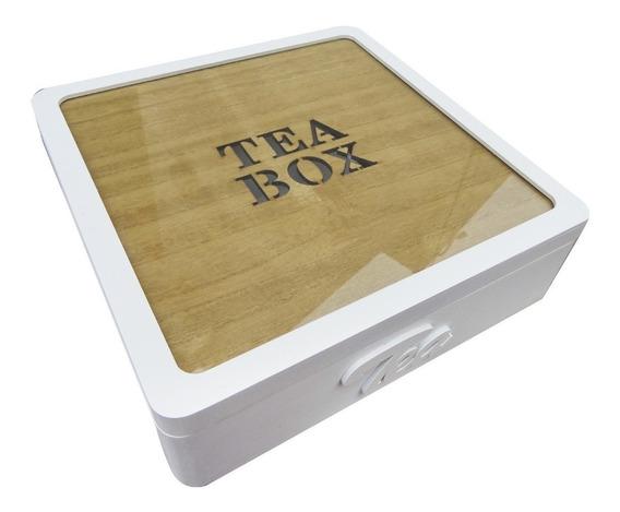 Caja De Te Madera Cuadrada Tea Box 9 Divisiones Blanca