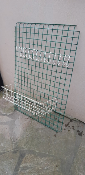 Reja Grilla Para Colgar (75cm × 53cm)con Estante+ 16 Ganchos