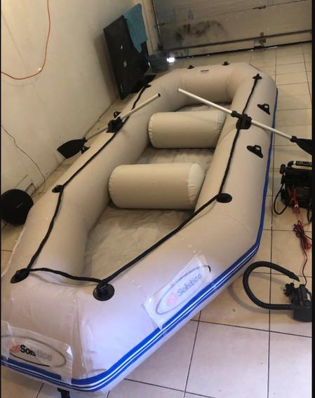 Bote Inflable Solstice Con Motor Eletrcico, Perfecto Estado