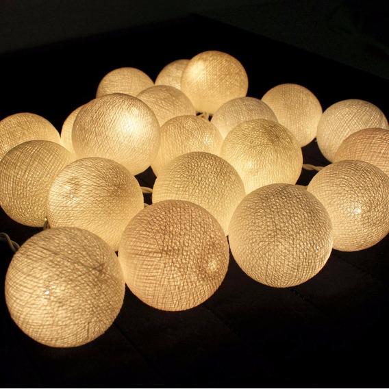 Luminária Cordão Fio De Luz 10 Bolas Led Decoração