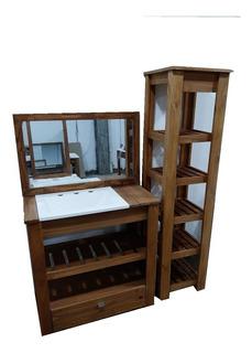 Combo Vanitory 80 Cm Madera Maciza Bacha Organizador Espejo