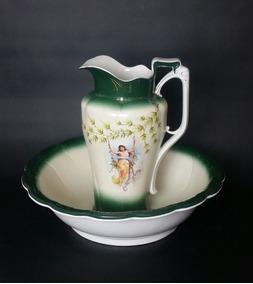 Jarra E Bacia Art Nouveau Em Porcelana Francesa