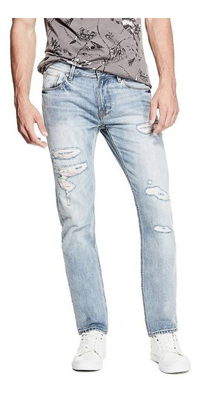 Pantalon Guess Slim Tapered Destroyed Patch Jeans...