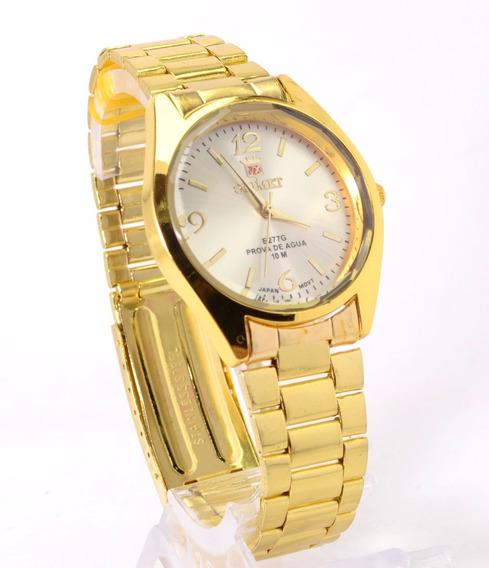 Relógio Feminino De Pulso Dourado Orimet Resistente Barato.