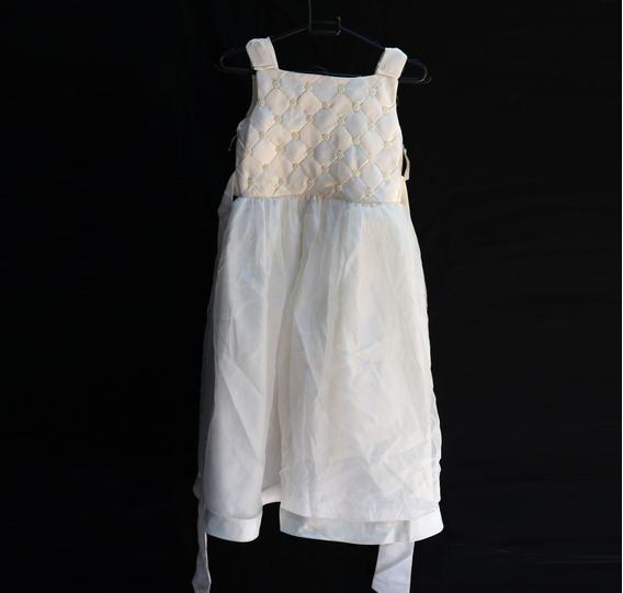 Vestido De Daminha Bordado 8 Anos Poliéster Cetim Tule B7021