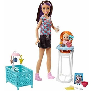 Barbie Skipper Niñeras Juego De Muñecas Cuna Bebe Playset