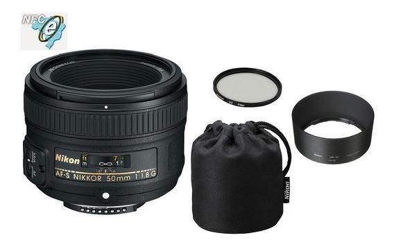 Lente Nikon 50mm F/1.8g Af-s Fx + Uv 58mm Nota Fiscal
