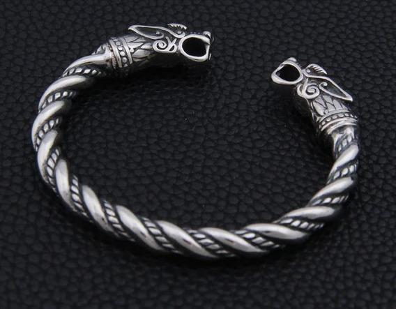 Bracelete Pulseira De Aço Inoxidável Masculino Modelo Dragão Viking Mitologia Antigo Vintage Cor Prata