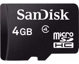 Tarjeta De Memoria Micro-sd 4 Gb. San Disk Clase 4