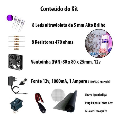 Imagem 1 de 9 de Kit Led P/ Armadilha De Mosquito Led+resistor+fonte+conector