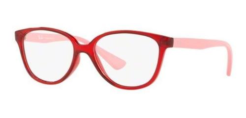 Imagem 1 de 4 de Armação Oculos Grau Ray Ban Junior Rb1582 3755 Vermelho Rosa