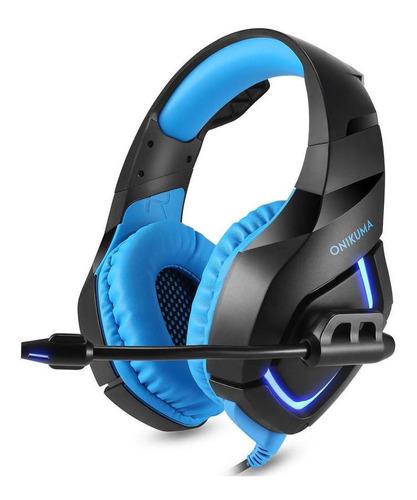 Audífonos gamer Onikuma K1-B black y blue