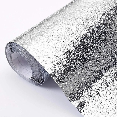 Imagem 1 de 6 de Papel Parede Alumínio Impermeável Folha Autoadesiva Cozinha
