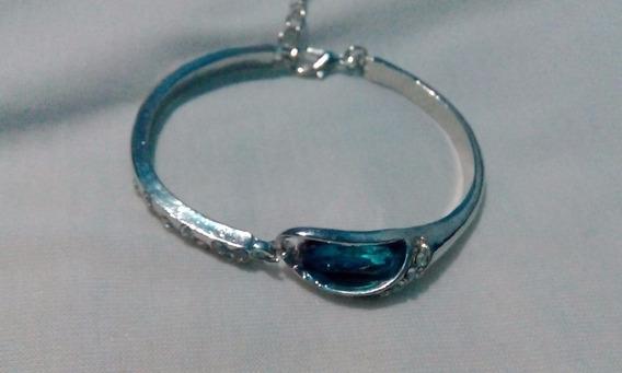 Remate Brazalete Ajustable Con Piedra Azul