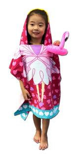 Poncho Toalha Infantil Modelo Fada Com Capuz