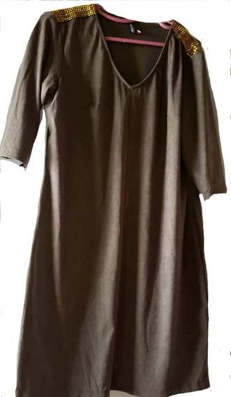 Vestido Gamuza Escote V, Recto Con Aplique En Hombros T 5