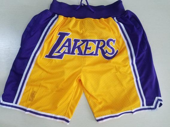 Los Angeles Lakers Short Just Don Bordado Nba - A Pedido