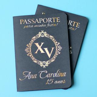 50 Convites De 15 Anos Passaporte Preto Dourado Barato Lindo