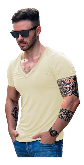 Camisa Camiseta Gola V Funda Masculina Manga Curta