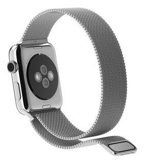 Pulseira Milanese Para Apple Watch 38mm Aço Inoxidavel Prata