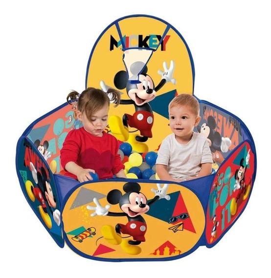 Piscina De Bolinhas Infantil Mickey Disney C/ Cesta Basquete