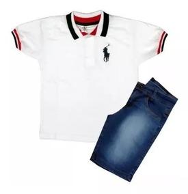 Kit C 3 Conjuntos Masculino Menina Camisa E Bermuda Jeans