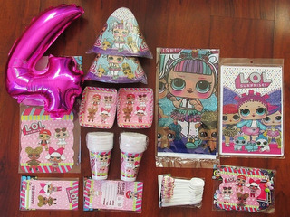 Kit Decoracion Lol Surprise Para 12 Niños + Globo Obsequio