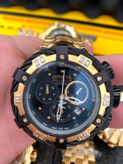 Relógio Masculino Invicta Thunderbol Preto E Dourado Banhado Ouro 18k Original 1 Ano Garantia Frete Grátis Promoção