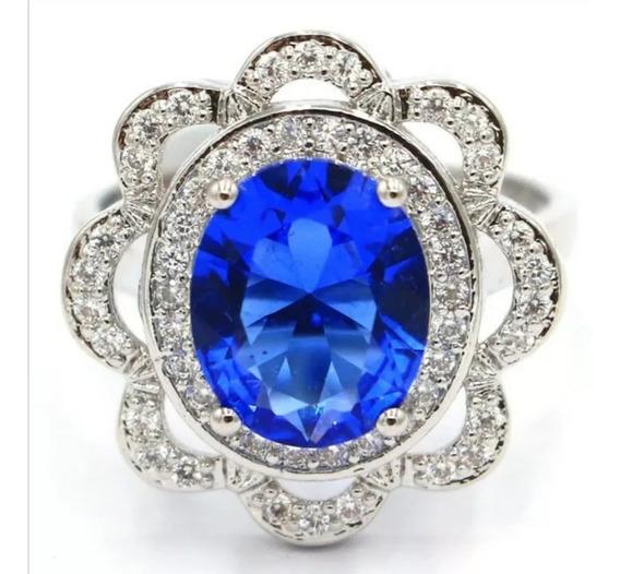 Elegante Anillo Piedra Zafiro Azul Y Cz Blanco Plata