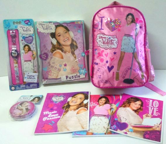 Mochila Tini Violetta + Reloj + Kit Escolar Promo Oferta!