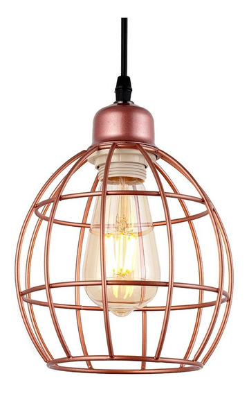 Pendente Luminaria Industrial Aramado Loft Retro Cobre Inl36