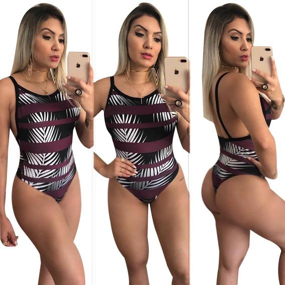 Body Feminino Maiô Cavado Regata Estampado/collant Ref 79k34 Bmgs