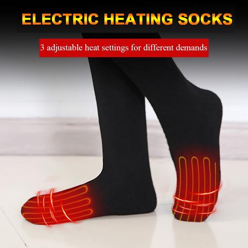 Calcetines calefactados 1 par de calcetines de calefacci/ón el/éctricos para hombres y mujeres temperatura ajustable 3 niveles ajustes de calefacci/ón USB Plug invierno t/érmico calcetines de algod/ón c/álido para deport