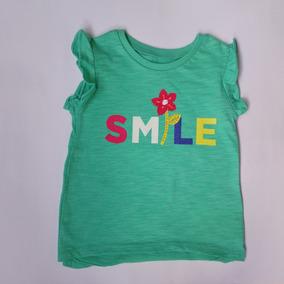 2adc48e86b Camiseta Smile Verde Flor Bebe Menina Carters 18m