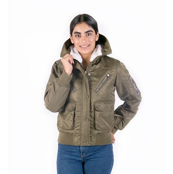 Chamarra Mujer Bomber Moda Invierno Greenlander Fur Desmontable