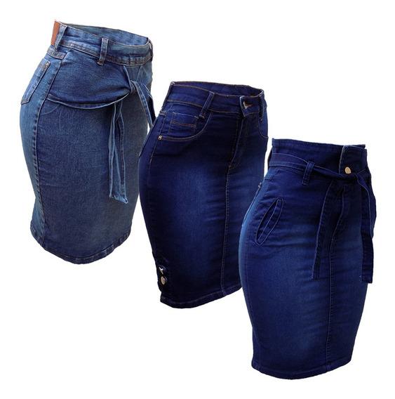 Saia Jeans Evangélica Midi Babado Sino Promoção Kit C/3