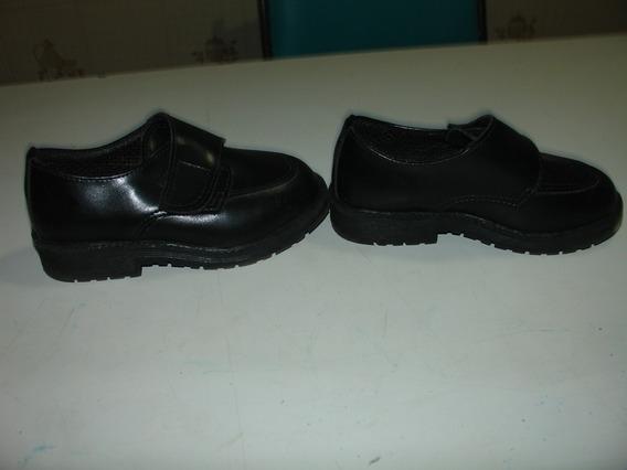 Menino Sapato Preto Social Velcro Preto Usado 1 Vez 24 Taman