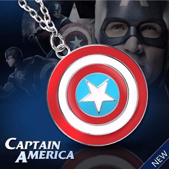 Colar Pingente Capitão América Corrente E Escudo Vingadores