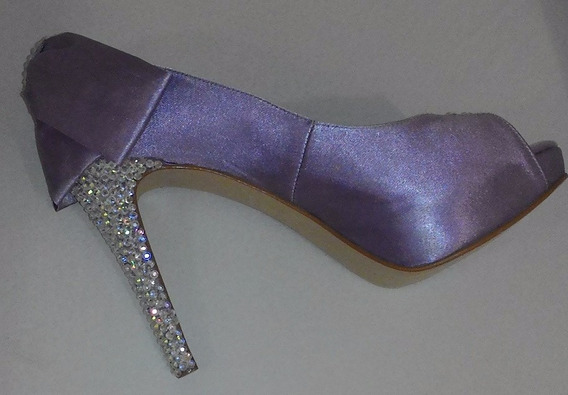 Sapato Para Festa Lilás Luxo Brilhante Tam. 35 C/ Salto 10cm