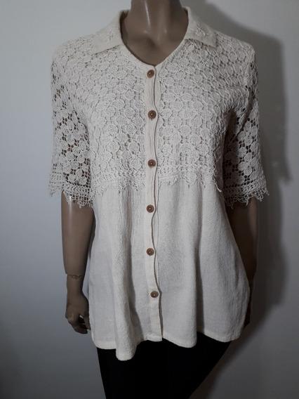 Muy Linda Camisa En Crudo Rustica Con Crochet Talle M-l Impe