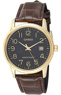 Relógio Masculino Dourado Casio Com Pulseira De Couro Marrom