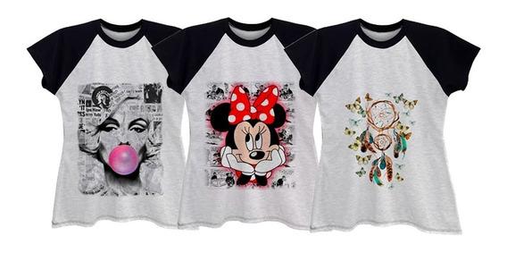 Kit 3 Camisetas Blusa Raglan Feminina Plus Size Até G6