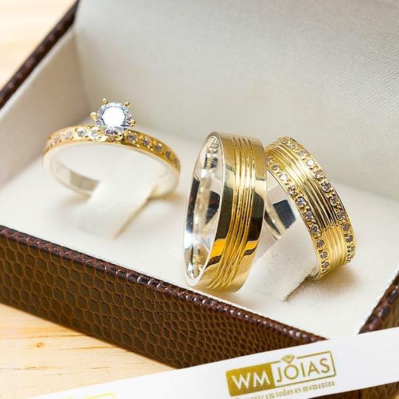 Aliança De Casamento Ouro E Prata + Anel Solitário Wm10209