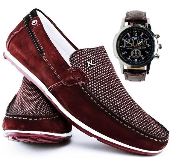Sapato Casual Social Com Relógio Nevano Masculino 4317 Vinho
