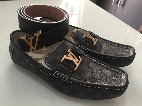 Sapato E Cinto Louis Vuitton Masculino Preto E Cinza Xadrez