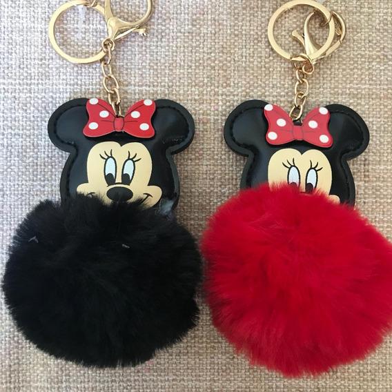 2 Chaveiros Minnie Mouse Disney Original Vermelho E Preto