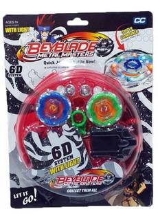 Beyblade Pack X2 Trompos Puntas Metal + Estadio + Lanzadores